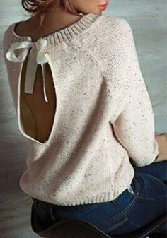 Casual Scoop Neck Long Sleeve Backless Sequines Sweater For WomenSweaters