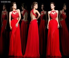 2015 Red vivian vo farmer Chiffon Halter Long Prom Dresses With Applique Criss Cross