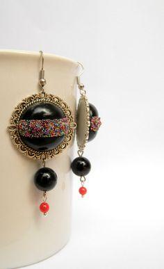 #Black #earrings #Dangle earrings  Round earrings  by insoujewelry, $33.00