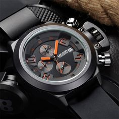 Wholesale MEGIR 2002 Date Function Water Resistant Male Quartz Watch with Silicone Band Working Sub-dials (BLACK) | Everbuying