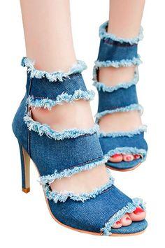 buy online 18657 f1ff3 Women s Denim Ankle Strap Heel, Sandal Shoes