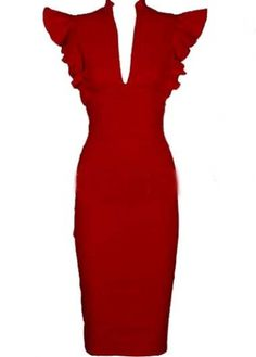 Shop Vintage Inspired Red Holiday  Party Dress - Catching High Waist Red Dress with Frill Sleeve $28.20-
