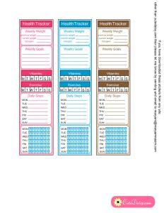 health tracker side bar stickers printable