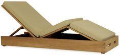 Chaise longue contemporaine / dossier ajustable / en bois / d'intérieur POOLSIDE by John Hutton SUTHERLAND