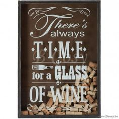 J-Line Kader There is always time for a glass of Wine Hout Naturel Wit-Glas 65H Jline-by-Jolipa-72458