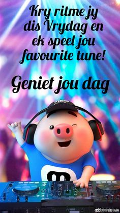 Lekker Dag, Pig Wallpaper, Cute Piglets, Goeie More, Afrikaans Quotes, Little Pigs, Good Morning Quotes, Lunch Box, Words
