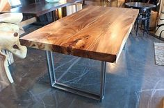 79-L-Dining-table-solid-acacia-wood-slab-stainless-steel-legs-hand-made-smooth