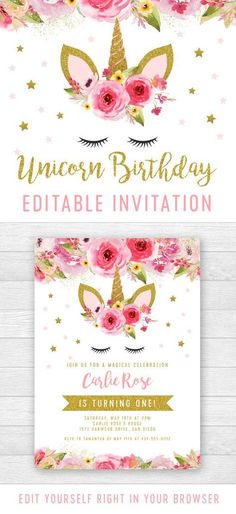Editable Unicorn Birthday Party Invitation - Pink Gold Glitter - Printable - Personalize Instantly B Unicorn Themed Birthday Party, Unicorn Birthday Invitations, Pink Invitations, Printable Birthday Invitations, Farm Birthday, Pink Birthday, Birthday Nails, Happy Birthday, Glitter Birthday Parties