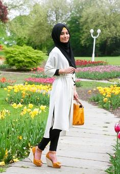 Black and White Hijab Fashion and Styles  probably black wedge heels though