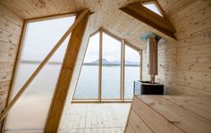 Students of The Scarcity and Creativity studio, at the Oslo School of Architecture and Design, have imagined a seaside wooden sauna in the Northern Sea. The Ban Architectural Digest, Oslo, Architecture Student, Interior Architecture, Design Sauna, Ecole Design, Outdoor Sauna, Journal Du Design, Higher Design