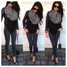infinity scarf, black, leather I NEED THESE PANTS. NEEDED