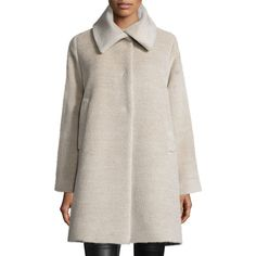 Jane Post Alpaca-Blend Coat ($1,060) ❤ liked on Polyvore featuring outerwear, coats, oatmeal, jane post, long sleeve coat, fur-lined coats, jane post coats and oversized coat