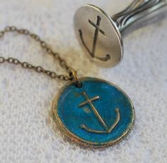 hope anchor wax seal necklace... wax seal jewelry in a patinated blue bronze