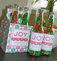 Take empty beer, drinks, soda bottles and clean. fill with treasy and paper over a bottle 6 pack box. perfect cute gift  (via Art and crafts / Image detail for -DIY {christmas gifts})