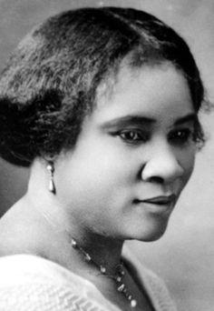 Madam C.J. Walker. Se convirtió en una mujer de negocios casi por casualidad: por culpa de una enfermedad empezó a perder pelo, y decidió crear un producto que pudiese ayudar a luchar contra la calvicie. Así fue como empezó a comercializar una loción que pronto se hizo famosa. Creó una línea completa de productos para el cabello para las mujeres negras, que se vendió por todo el país.......
