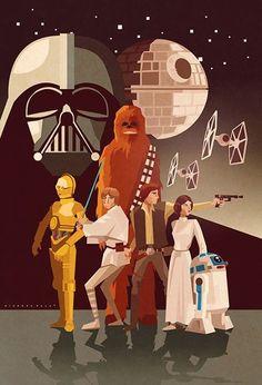 Star Wars poster by Ricardo Polo Star Wars Fan Art, Theme Star Wars, Star Wars Party, Star Trek, Star Wars Poster, Cultura Pop, Amour Star Wars, Cuadros Star Wars, Inspiration Artistique