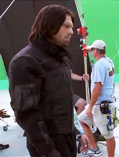 Sebastian Stan behind the scenes of Civil War - visit to grab an unforgettable cool 3D Super Hero T-Shirt! - Visit to grab an amazing super hero shirt now on sale!