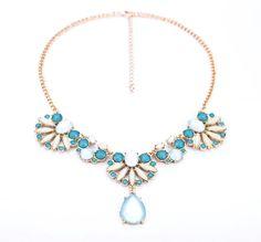 Feminine Dark Sky Blue Pendant Necklace $10.98