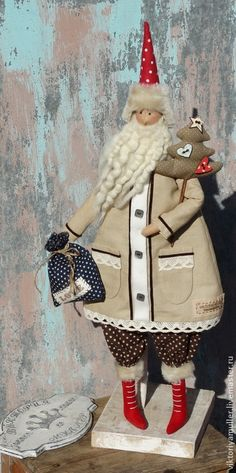 Купить кукла тильда ручной работы ДЕД МОРОЗ)))))))) - бежевый, кукла ручной работы