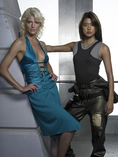 Tricia Helfer as Cylon Number Six and Grace Park as Cylon Number Eight (Battlestar Galactica)
