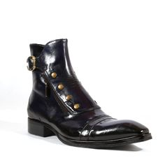 Jo Ghost Italian Mens Shoes Inglese Blu Navy Plato Leather Boots (JG2101) Material: Leather 	Hardware: Antique Gold 	Color: Navy / Blue 	 Outer Sole: Leather 	 Comes with original box and dustbag. 	Made in Italy. 	3207M
