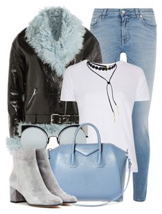 """""""Blue Fur"""" by monmondefou ❤ liked on Polyvore featuring Givenchy, Sandy Liang, Topshop, Fendi, Gianvito Rossi and Blue"""