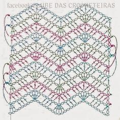 Recent Media and Comments in Crochet Ponto Zig Zag Crochet, Crochet Ripple, Crochet Motifs, Crochet Diagram, Crochet Stitches Patterns, Crochet Chart, Crochet Designs, Easy Crochet, Crochet Lace