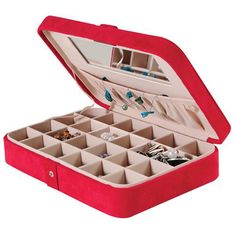Easily take your jewelry with you while you travel or store it in style at your home with this Faux Suede Travel Jewelry Case. The sleek, simple design looks great and doesn't distract from the jewelry you put inside of it. With 24 equal sections inside, you'll have plenty of room to hold your rings, earrings, and other finery. The interior mirror will help you make sure your jewelry looks great.