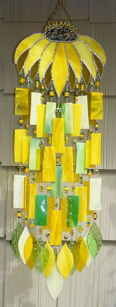 Kirk's Glass Art fused and stained glass windchimes.....Beautiful, I love the yellow & green colors.
