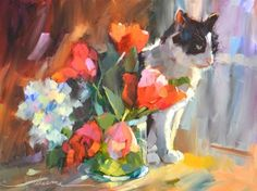 """Daily Paintworks - """"Furfect Bouquet"""" - Original Fine Art for Sale - © Dreama Tolle Perry"""