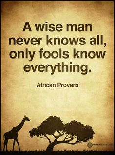 TOP WISDOM quotes and sayings by famous authors like African Proverbs : A wise man never knows all, only fools know everything. Wise Quotes, Quotable Quotes, Great Quotes, Words Quotes, Quotes To Live By, Wisdom Sayings, Fool Quotes, Socrates Quotes, Quotes About Fools