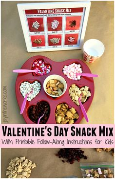 Looking for a creative Valentine's Day Snack? This Valentine's Day Snack Mix is so unique because the kids get to make it themselves using the free printable follow-along instructions! It contains all the favorite snacks too- from Teddy Grahams to pink marshmallows to red and pink M&M's! All are sure to be a hit with the kids! #snackmix #valentinesdaysnackmix #freeprintable #kidssnack #valentinesdaypartysnack