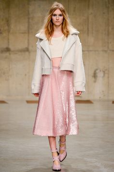 topshop unique london fashion week 13 - love the boxy shearling jacket with the pale pink sequin skirt