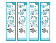 Tricia-Rennea, illustrator: Reading and Writing Shark Set Bookmark Craft, Bookmark Making, Bookmark Ideas, Library Themes, Library Ideas, Summer Party Themes, Party Ideas, Free Printable Bookmarks, School Fun