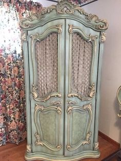 Found on EstateSales.NET: Hoke Furniture Company - Vintage Hand Carved French Provincial (5 piece bedroom set includes Armoire, King Headboard with attached metal frame, 2 side tables, full dresser with standing mirror) taking offers by email and if necessary during sale