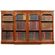 View this item and discover similar for sale at - Finest custom quality J. Zonan mahogany and satinwood inlaid bookcase / breakfront. Flame mahogany breakfront with satinwood inlay. Victorian Bookcases, Vintage Bookcase, Antique Furniture, Cool Furniture, Mahogany Bookcase, Key Design, Adjustable Shelving, Antiques, Recliners