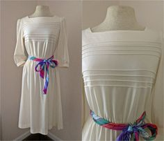 Vintage 70s 80s Cream Dress // Colorful Belt // by FaceTheSunshine, $30.00