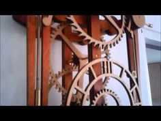 My first wooden mechanical clock - YouTube