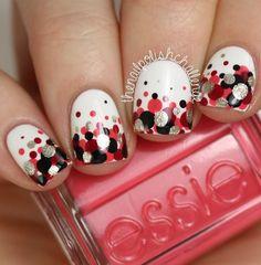 Valentine's day nail art idea - Polka Dot Gradient