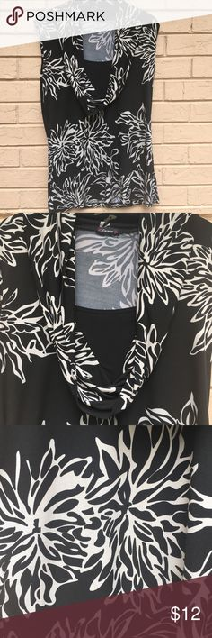 Boutique Matte Jersey top Top can be worn alone of with a jacket. Comfortable Matte jersey fabric and great flattering cowl neck with a modesty panel. It's black with ecru. Perfect for Fall. Tops Blouses