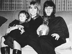 January 1968.John, Cynthia and Julian photographed for the forthcoming official biography 'The Beatles' by Hunter Davies which was about to be released in hardback..