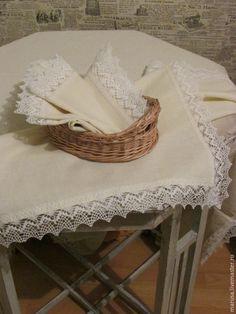 Купить Скатерть льняная - белый, молочный цвет, скатерть, салфетки, скатерть Прованс, скатерть прямоугольная