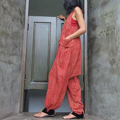 <3  Epiphany...Jumpsuit Red Indian flower print (S-L). $59.00, via Etsy.