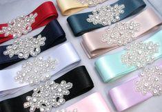 Bridesmaid Sashes, Wedding Dress Sash, Crystal Rhinestone Sash, Bridal Belt, Jeweled Beaded Sash, 35 Colors / Teal / Pink / Blue / Green