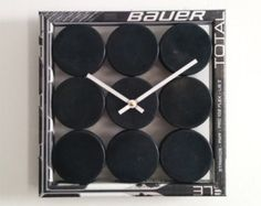 A charming, unique clock built from recycled hockey sticks and new pucks. Team logo pucks are available! You may choose to have a team logo on Hockey Birthday, Hockey Party, Hockey Puck, Hockey Mom, Hockey Sticks, Hockey Stuff, Hockey Girls, Hockey Players, Bruins Hockey