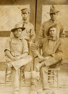 The Buffalo Soldiers  More: 9th Cavalry Seated: Captain McCown on left and Friends