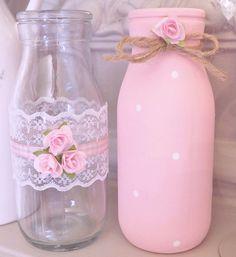 Shabby Chic Milk Bottles