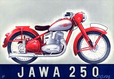 JAWA-250ccm Motorcycle Posters, Motorcycle Art, Vintage Motorcycles, Cars And Motorcycles, Bobber Chopper, Old Bikes, Classic Bikes, Cycling Bikes, Illustrations And Posters