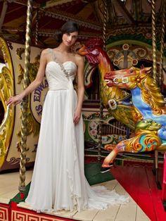 Louise Alvarez ivory silk gown, wedding dress, goddess syle, off the shoulder diamante detail, bridal gown,