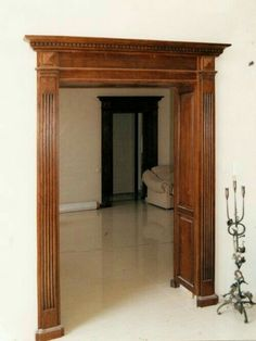 Wooden Glass Door, Wooden Main Door Design, Wooden Decor, Door Frame Molding, Cornice Design, Cottage Dining Rooms, Arched Doors, Home Decor Furniture, Wood Doors